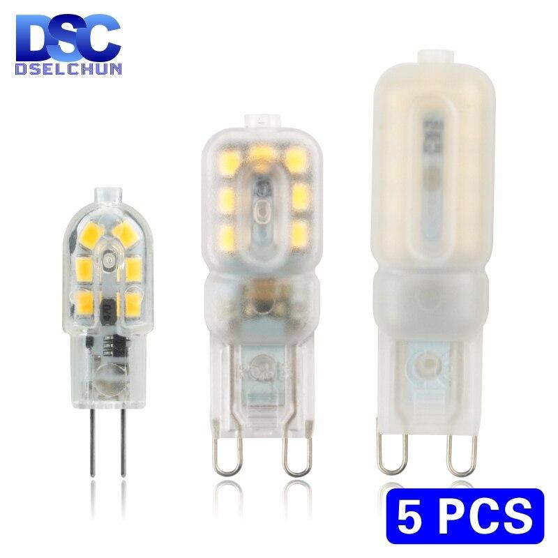 5 ピース/ロット LED 電球 3 ワット 5 ワット G4 G9 電球 AC 220V DC 12V LED ランプ SMD2835 スポットライトシャンデリア照明ハロゲンランプを交換