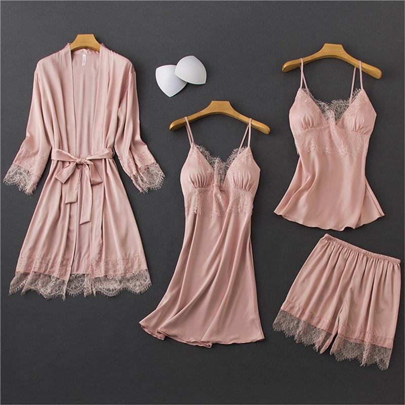 Daeyard Satin Pijamas Mujer Sleepwear Women Pajama Set 4 Pcs Sexy Lace Lingerie Pyjamas Nightwear Silk Home Clothes Lounge Wear