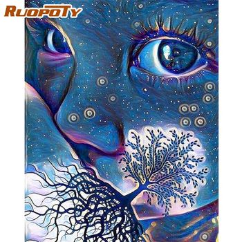 RUOPOTY  Kids Blue Face Oil Painting By Numbers Kits Diy Oil Paints By Number Unique Gift Acrylic Canvas HandPainted Home Wall A