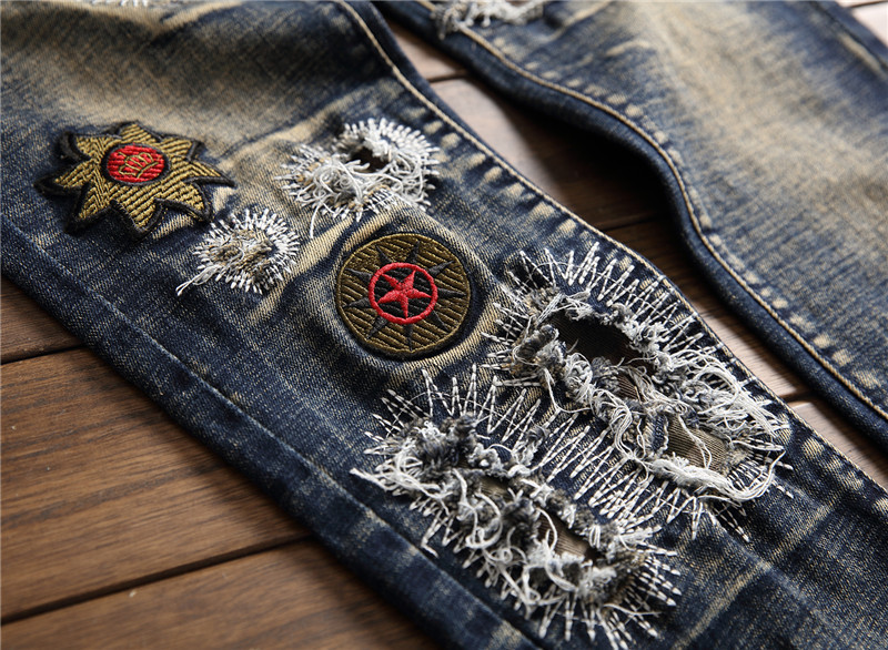2019 AUTUMN Winter Men's Patchwork Ripped Embroidered Stretch Jeans Trendy Holes Straight Denim Trouers 60