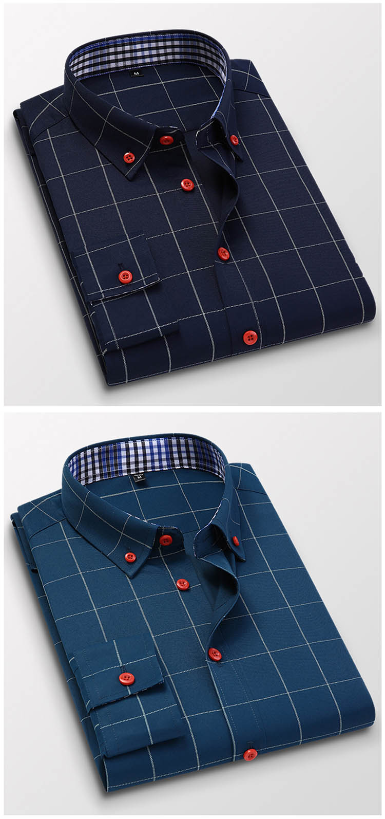 H8a473c5484a74bb09a43e7832fae499bp Handsome Fashion Men Shirts Casual Long Sleeved Plaid Shirt Regular Fit Male Blouse 4XL 5XL