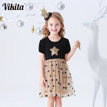 VIKITA Kids Summer Dress for Girls Baby Girls Short Sleeve Dresses Toddlers Birthday Party School Casual Princess Tutu Clothes summer brand 2020 kids dresses for girls casual wear frill sleeve girl dress children boutique clothing tutu baby girls clothes
