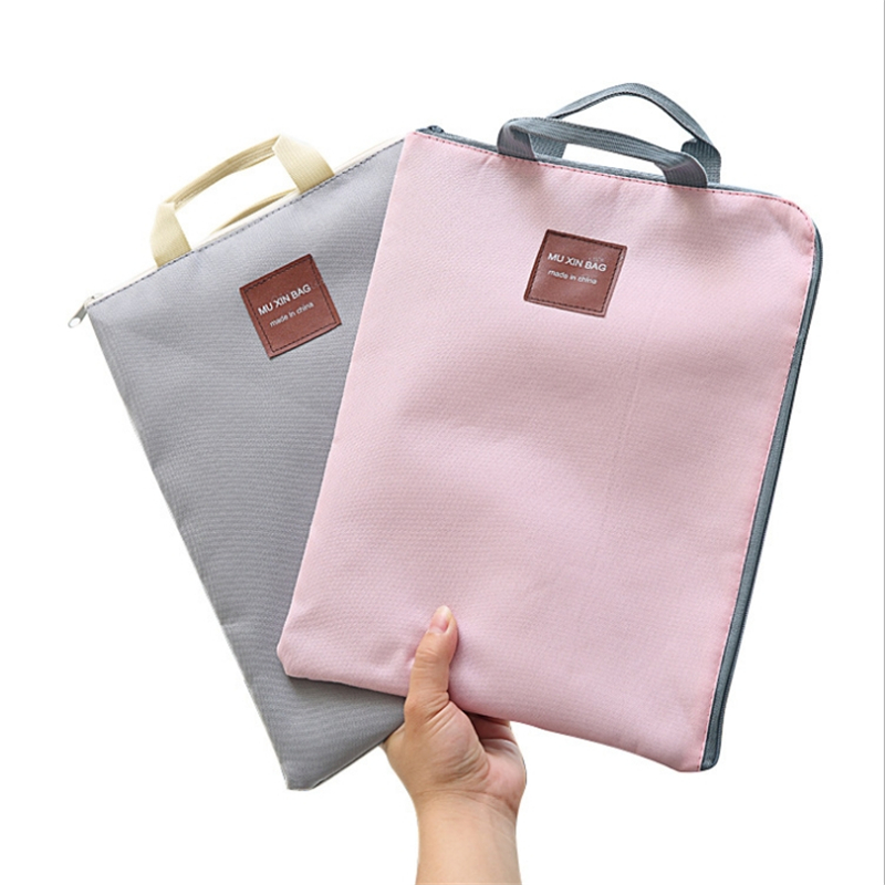 Canvas Document Handbag Briefcase Fashion Laptop Bag A4 File Bag Portable IPad Package Zipper Multifunction Tote