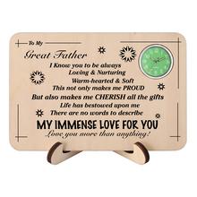 Niestandardowy wzorzec tekstu zegar do mojego ojca drewniane ozdoby w kształcie prostokąta zegary stołowe pamiątkowy dzień ojca prezent urodzinowy tanie tanio YISUYA Nowy z metkami Rectangle STAINLESS STEEL W520301 ANALOG Mężczyźni Akrylowe Moda casual 14 7 QUARTZ To My Father