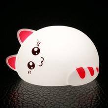 Dropship 귀여운 LED 밤 빛 실리콘 터치 센서 7 색 고양이 밤 램프 아이 아기 침실 데스크탑 장식 장식품 어린이