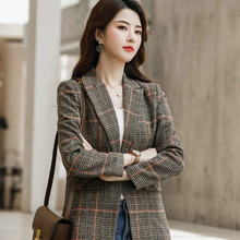 Retro Plaid Ladies Blazer Brown Loose Casual Simple Suit Jacket Stylish Veste Blazer Korean High Street Women's Clothing MM60NXZ