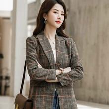 Retro Plaid Ladies Blazer Brown Loose Casual Simple Suit Jacket Stylish Veste Blazer Korean High Street Women's Clothing MM60NXZ