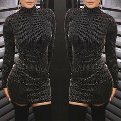 Women Sequined Shiny Turtleneck Bodycon Dress Solid Black Glitter Dresses Long Sleeve Sexy Club Party Slim Glamorous Vestidos