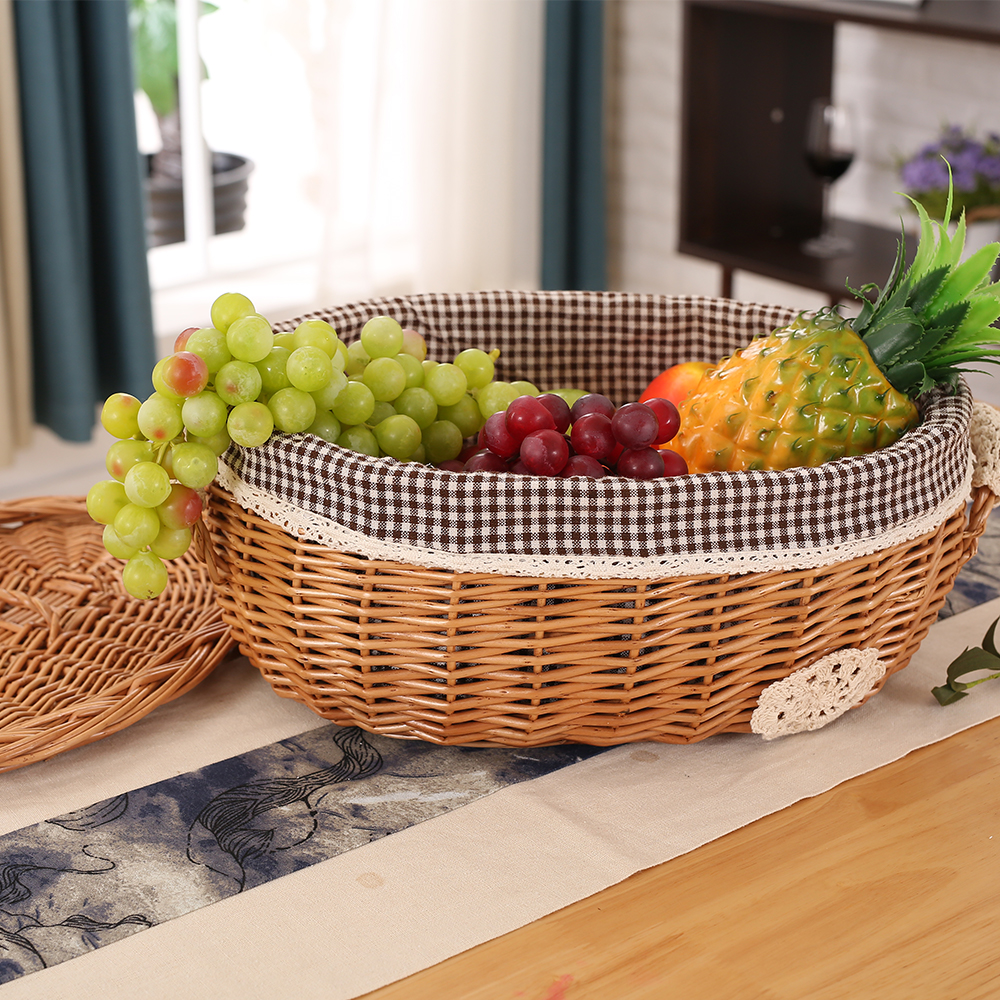 Wicker Rattan Storage Basket With Lid Handmade Woven Snack Toys cosmetics Storage Box Home Living Room Decoration Basket