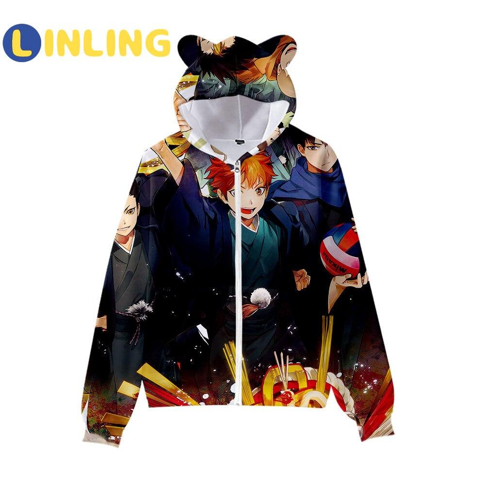 Sweatshirt Long-Sleeve Girls Boys Cat LINLING V572 2-To-15-Years Hoodie Harajuku Printed