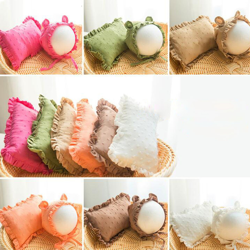Newborn Photography Props Accessories Newborn Posing Pillow+Hat Set Infant Photo Props Cute Ears Baby Hats Position Pillow