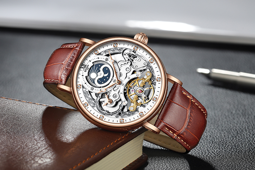 H8a47e08437c845ba957f1aa60d285afeb KINYUED Skeleton Watches Mechanical Automatic Watch Men Tourbillon Sport Clock Casual Business Moon Wrist Watch Relojes Hombre