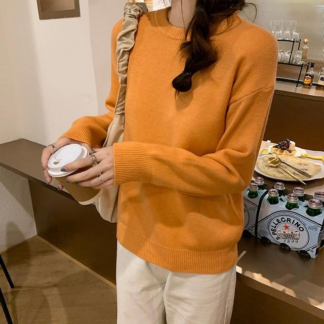 Купить новый повседневный свитер женский пуловер с круглым вырезом картинки цена