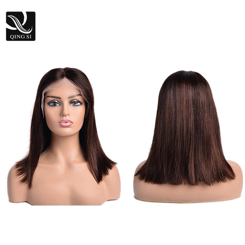 Прямые парики из коричневого кружева спереди, натуральные парики из человеческих волос, парики из 13*4 кружевных фронта, парики для женщин с б...