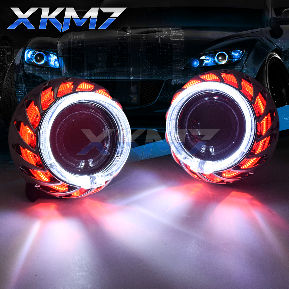 "2.5/"" Bixenon HID Projector Lens White Blue Dual LED Angel Eye Headlight Retrofit"