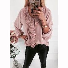 Женская одежда, Сексуальная Повседневная рубашка с v-образным вырезом и оборками, блуза с длинным рукавом, Женская Осенняя розовая элегантная Корейская блуза Harajuku SJ4802U