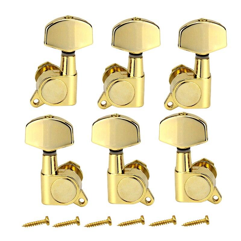 Un ensemble 6 pièces Chrome verrouillé chaîne Tuning chevilles clés accordeurs têtes de Machine pour acoustique guitare électrique serrure Style Schaller - 3