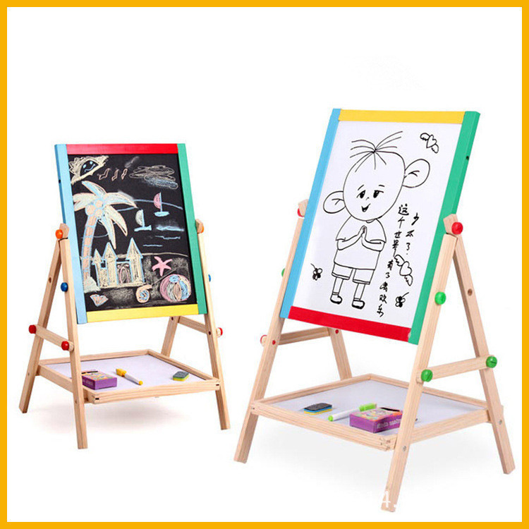 Multi-functional Wooden Double-Sided Black And White Drawing Board In CHILDREN'S Drawing Board Easel Adjustable Writing Board