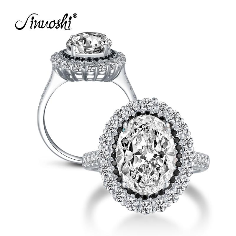 AINOUSHI 925 bague de fiançailles en argent Sterling pour femmes grand Halo 4.5 Carats taille ovale bague amant cadeau anillos plata 925 para mujer