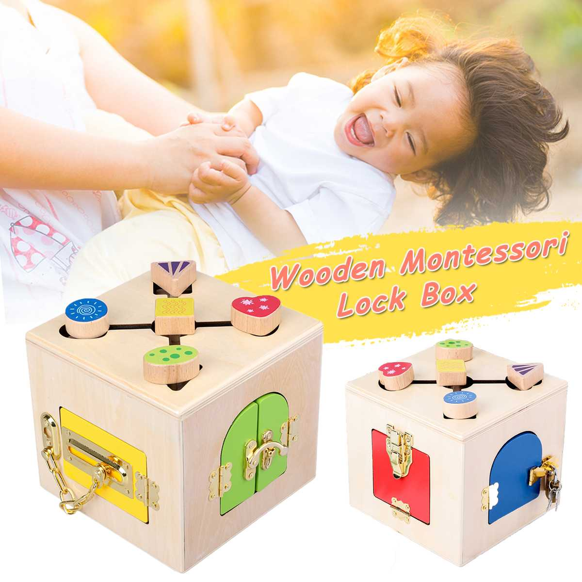 Montessori Materials Practical Life Toy Unlock Building Block Lock Box Educational Wooden Toys For Children Basic Life Skill Toy