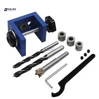 Woodworking Pocket Hole Locate Punch Jig Kit + Step Drilling Bit Wood Tools Set dbird