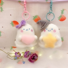 Lovely New 8cm Cute Anime Ghost Plush Keychain Pendant Toy Soft Stuffed Cartoon Moster Doll Kids Girls Backpack Bag Hang Gift