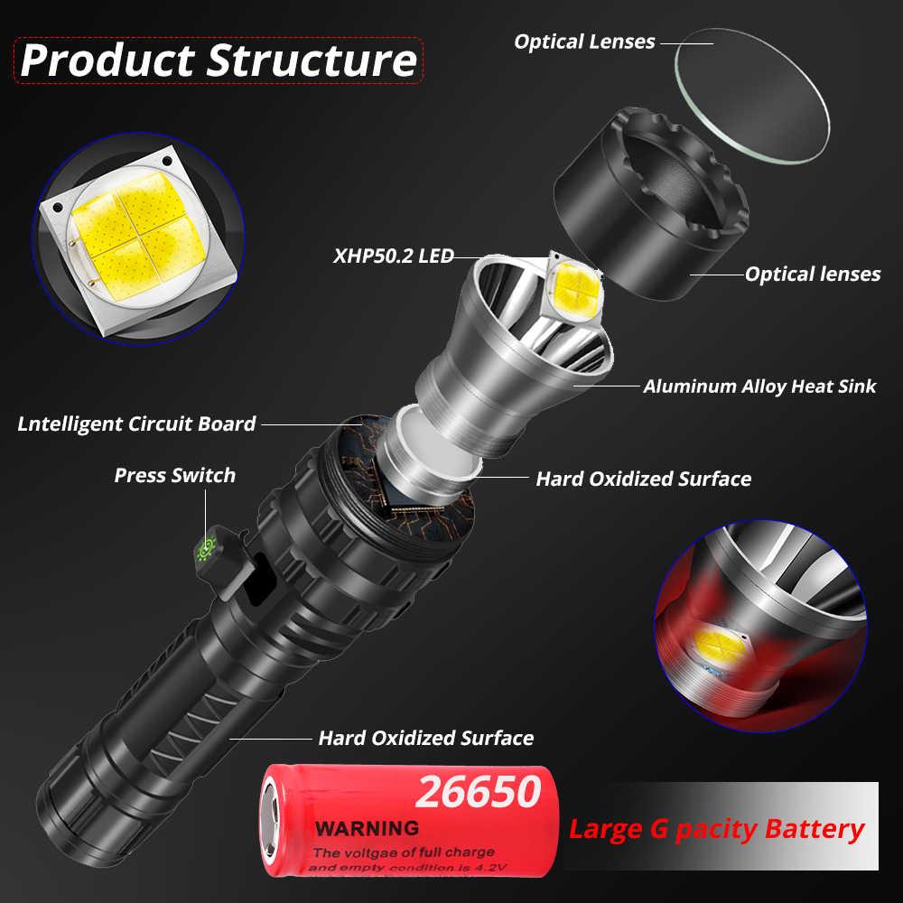 החזק ביותר Xlamp XHP50.2 LED פנס ציד L2 עמיד למים 5 מתג מצבי לפיד אור Lanterna להשתמש 18650 26650 סוללה