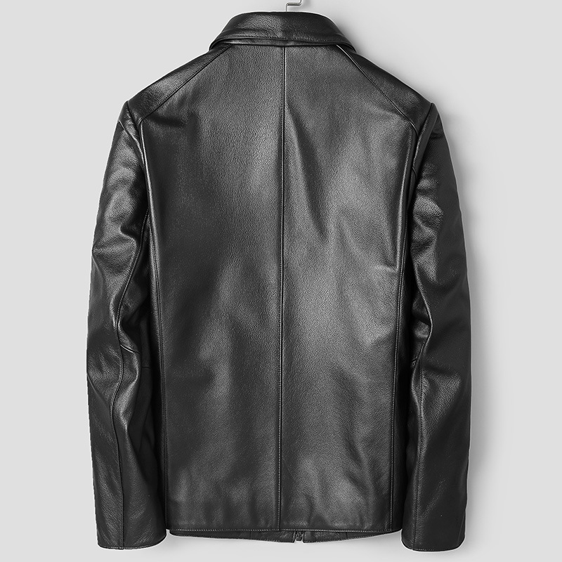 Mens Leather Jacket Real Cow Leather Jacket Men Genuine Leather Coat Windbreaker 81T888 Cuero Genuino 81T888 YY290