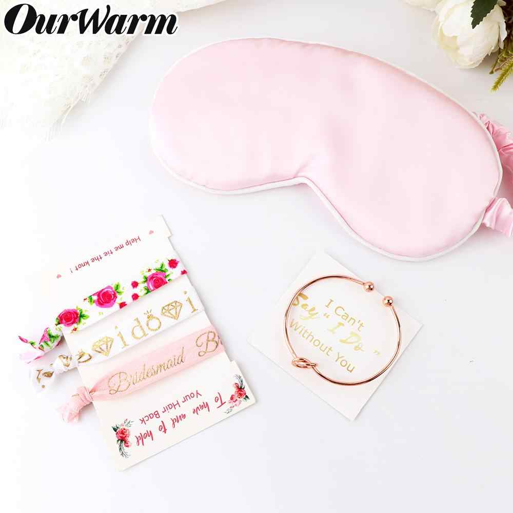 OurWarm 1Set Bachelorette Party Bridesmaid Bracelet Hair Tie Eye Mask Team Bride To Be Tribe Hand Band Bridal Shower Supplies