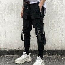 Marca Joggers Hombres Streetwear Pantalones cargo Bolsillos laterales Pantalones Hombre Hip Hop
