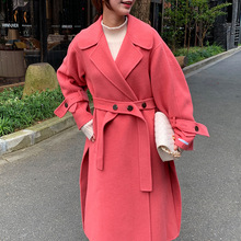 New Candy Color Wool Coat Double-face Cashmere Long Hair 2019 Adjustable Waist