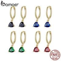 Bamoer-pendientes de gota de agua en 4 colores para mujer, de Plata de Ley 925, Color dorado y plateado, con forma de corazón, joyería con estilo SCE1019