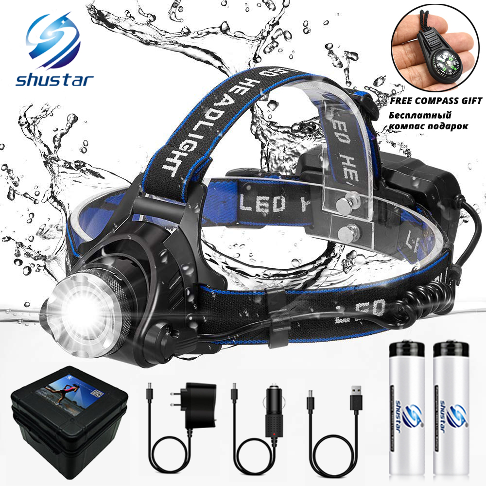 LED Headlamp Fishing Headlight T6 L2 V6 3 Modes Zoomable Waterproof Super bright camping light Powered by 2x18650 batteries
