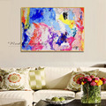 Best art blue purple yellow pink abstract oil painting canvas handmade painting home decoration oil painting artwork