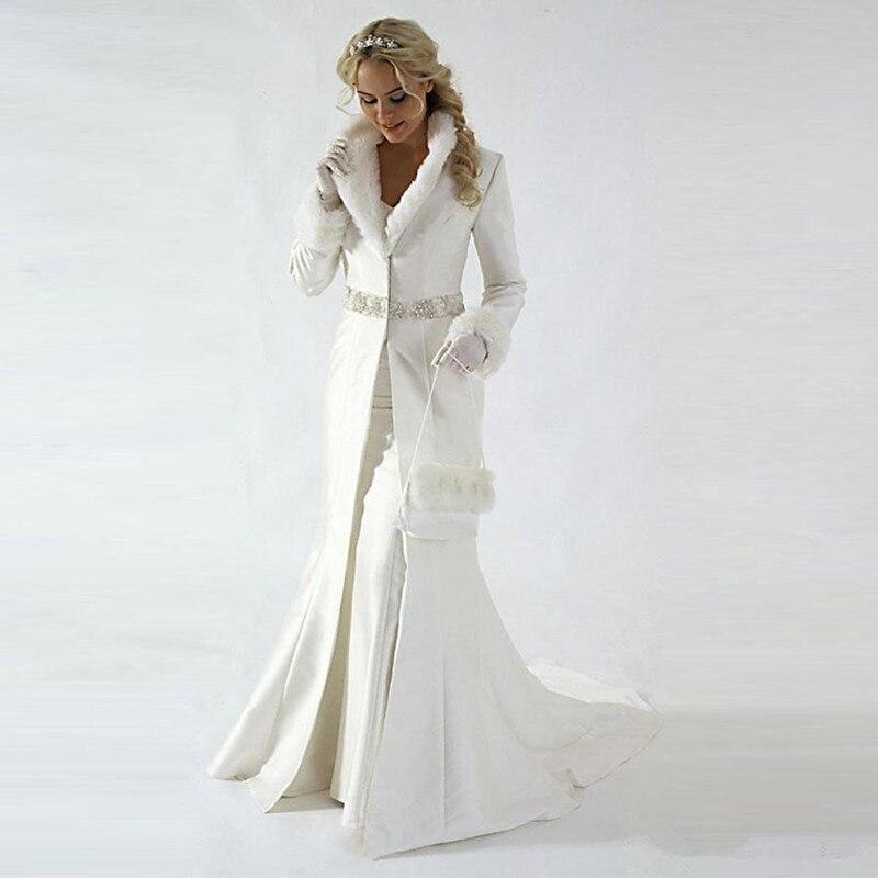 Modern 2019 Chapel Train Winter Bridal Cloak Jacket Long Sleeves Fur Wedding Coat Cute Shawl Coat Satin Fabric With Faux Fur