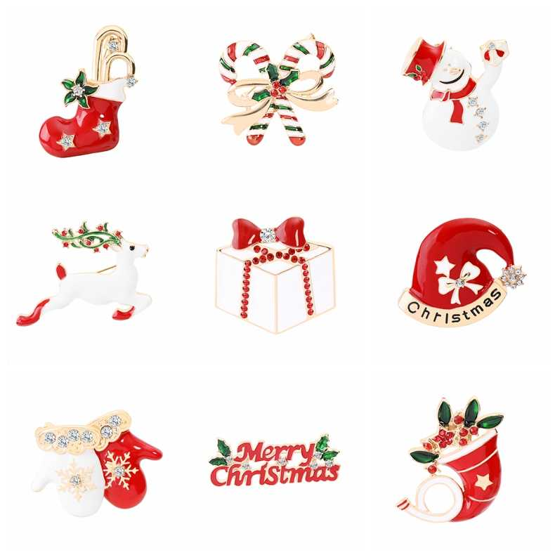 Kardan adam elk hediye kutusu eldiven penguen noel pimleri broş emaye karikatür kırmızı şapka merry christmas broş parti yılbaşı hediyeleri
