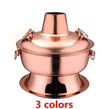 Cooker Hot-Pot Chafing Picnic Chinese Fondue Dish-Charcoal Lamb Stainless-Steel Gold
