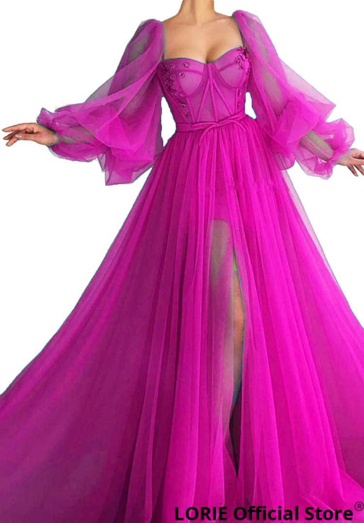 LORIE/Длинные Пышные синие платья для выпускного вечера с длинным рукавом, фатиновое вечернее платье на шнуровке с открытой спиной, вечернее платье для вечеринки, платье для выпускного вечера размера плюс