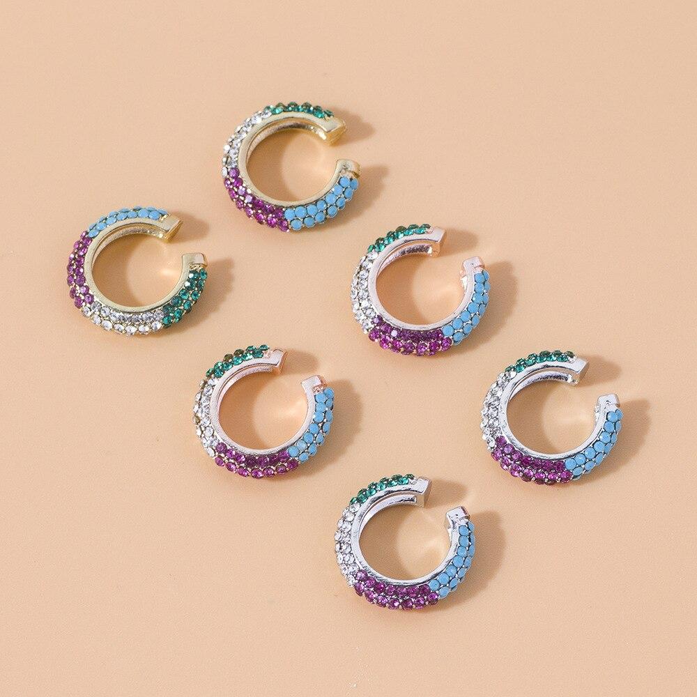 Bohemian Crystal Ear Cuff Earring for Women Multicolor C-Shape No Pierced