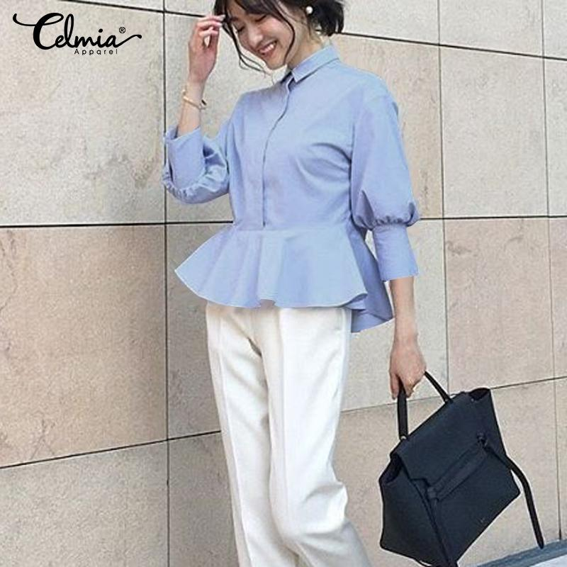 Fashion Women Peplum Tops Celmia Ladies Ruffles Blouse 3/4 Sleeve Lapel Casual Shirt Loose Buttons Work Blusas Tunic Plus Size 7