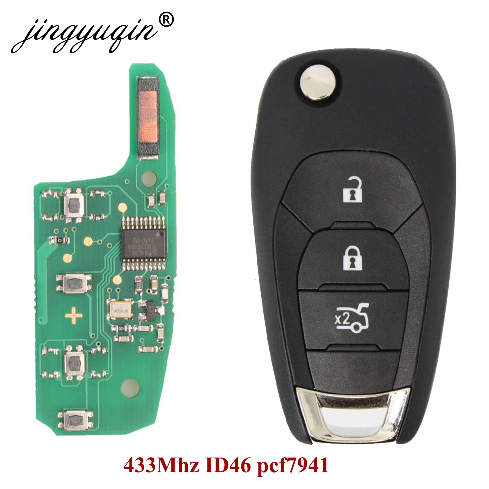 jingyuqin 20pcs For Chevrolet Cruze 3 Button Folding Flip Remote Smart Car Key Fob 315MHZ / 433MHZ ID46 PCF7941 Chip