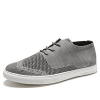 Flyweaver shoes male British style breathable casual shoes with trend net panel shoes
