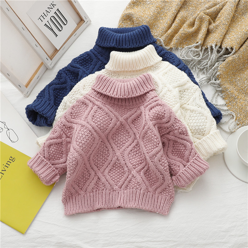 Knitted Sweater Baby Girls Boys Winter Warm Tops Pullover High-Necked Turtleneck Bottoming Clothes
