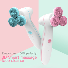 3 Heads Powered Facial Cleansing Devices Face Massage Brush Electric Ultrasonic Face Cleanser Deep Pore Blackhead Remover Beauty