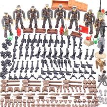 1:35 จำลอง Enlighten World War ทหาร Battle in Normandy Army Figures MEGA บล็อกอาคาร Ww2 ปืนอาวุธของเล่น Action