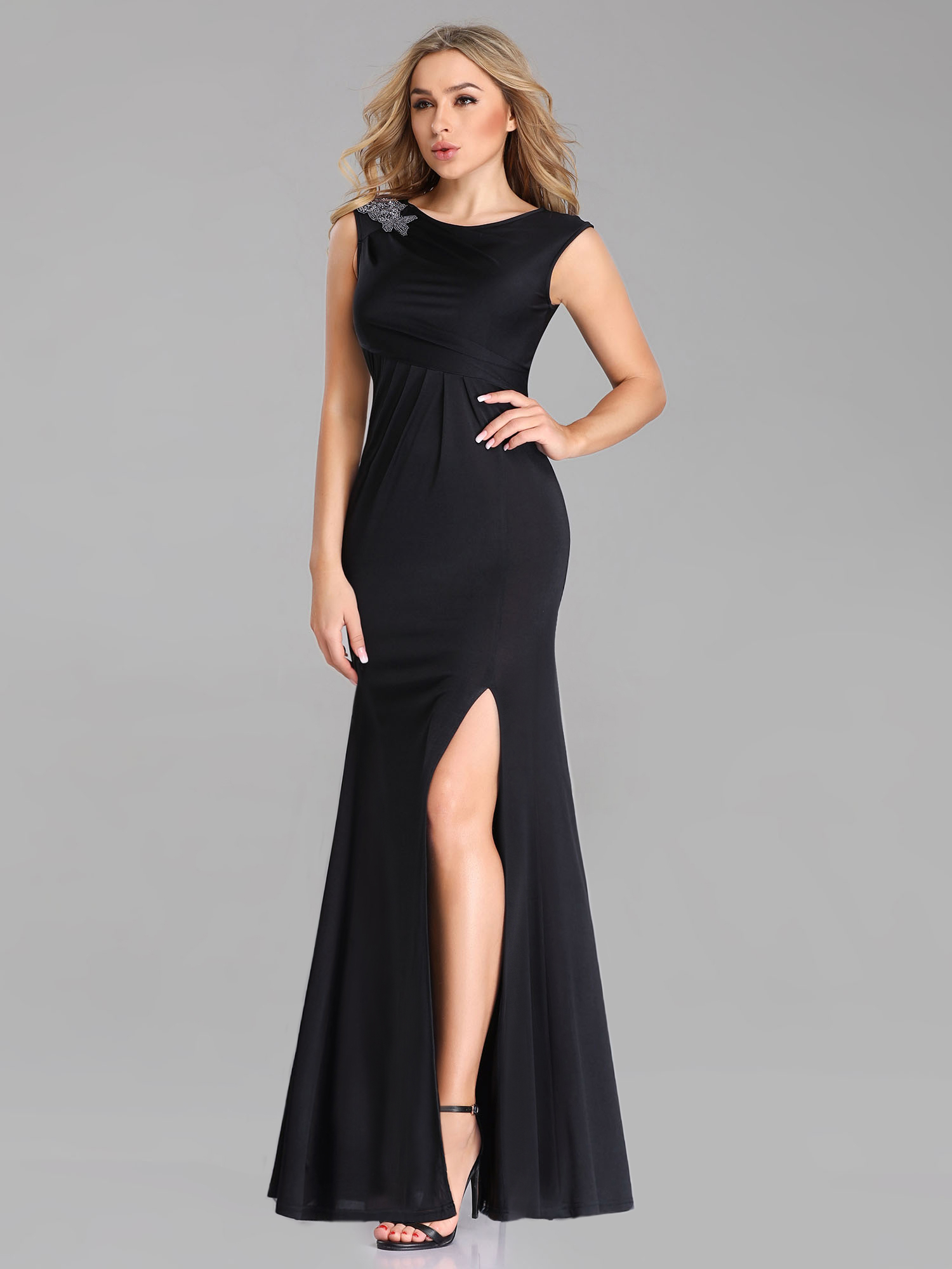 Party-Dress Evening-Dresses Sleeve Appliques Ever Pretty Mermaid Sexy Black Formal Long