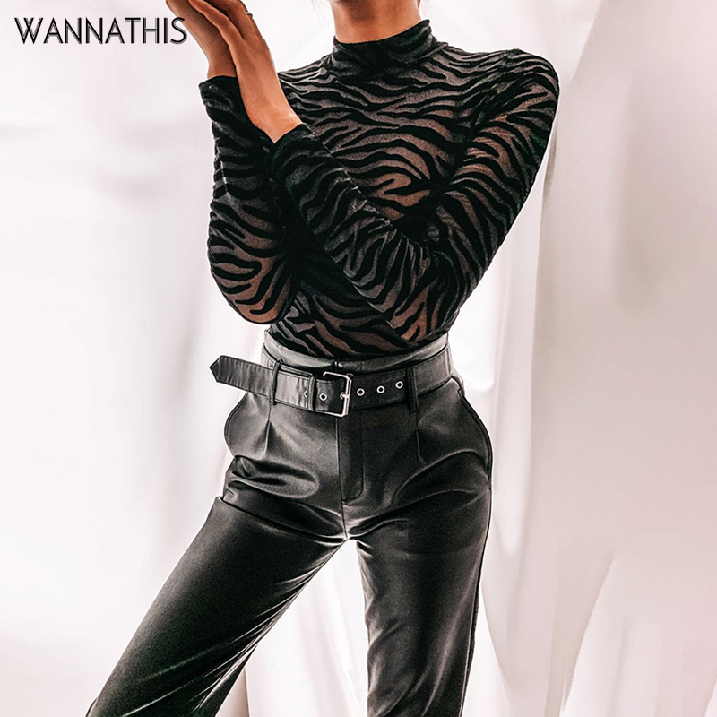 WannaThis Sexy Mesh Bodysuit Stripe Print Long Sleeve Mock Neck See-Through Spring Autumn New Women Black Elastic Ladies Rompers