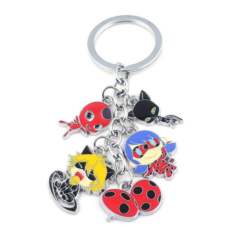 Ladybug Girl Doll Keychain Keyring Figures Group Black Cat Noir Ladybird Car Pendant Chaveiro For Girl Kid Gift