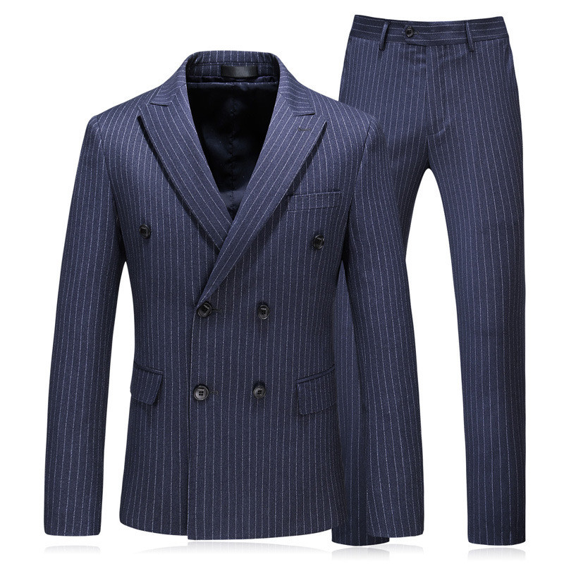 Men Suit костюм Striped Double-breasted Man Men Suit 3-piece Suit Blazer With Trousers Vest Mens Suit High Fashion Traje Hombre