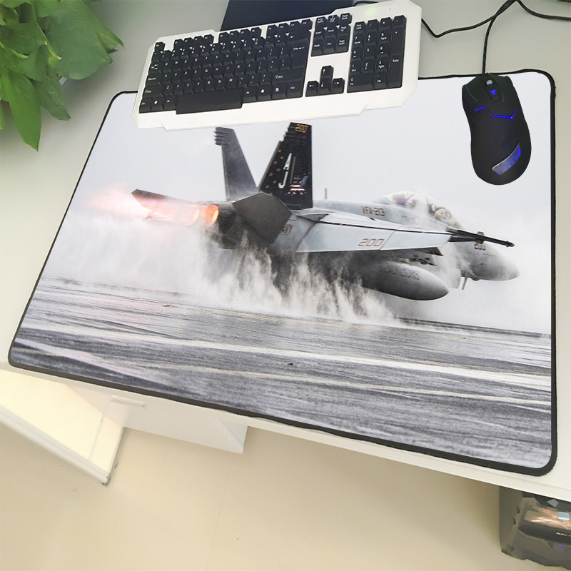 XGZ Army Enthusiasts Large Size Mouse Pad Lock Large Fighter Flying Pattern Laptop PC Table Mat Rubber Universal Non-slip